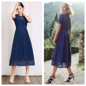 BODEN Althea Navy 100% Cotton Lace Midi Dress 8